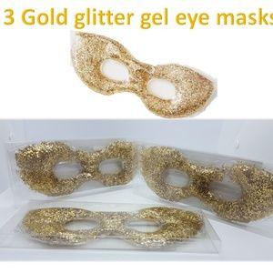 3 Gold glitter gel eye masks Hot/Cold New